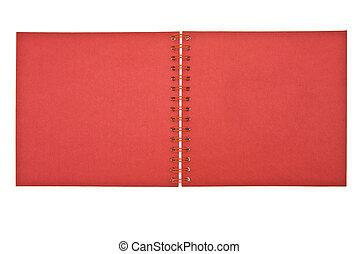 aperto, quaderno, coperchio, rosso