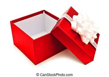 aperto, rosso, regalo natale, scatola