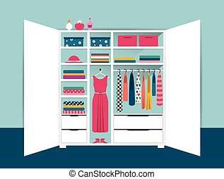 aperto, scatole, camicie, ordinato, casa, wardrobe., bianco...