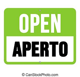 Aperto sign in black and green