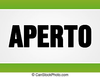 Aperto sign in white and green
