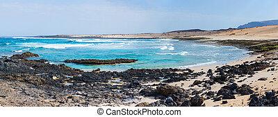 aperto, spiaggia, su, uno, isola tropicale