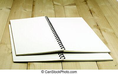 aperto, tavola, quaderno