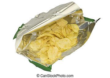aperto, uno, borsa, patatine fritte