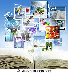 aperto, uno, libro, con, flusso continuo, immagini