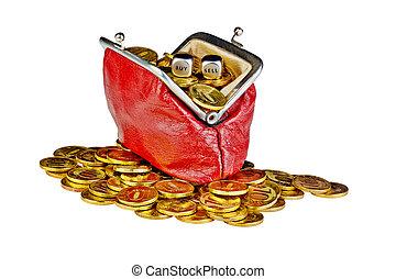 aperto, vecchio, borsa rossa, con, monete oro, e, dices,...