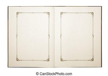 aperto, vecchio, libro bianco
