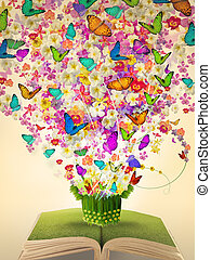 aperto, vendemmia, libro, di, abbondanza, fiore