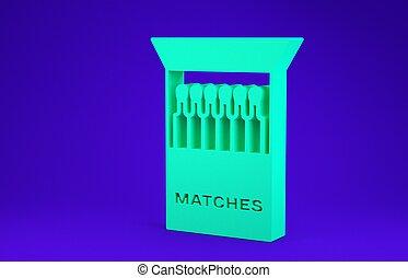 aperto, verde, 3d, icona, scatola di fiammiferi, blu, render, minimalismo, concept., isolato, fiammiferi, illustrazione, fondo.