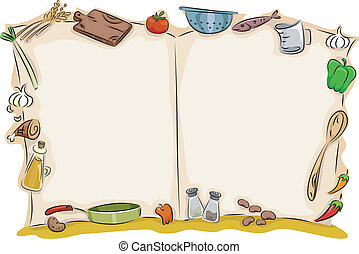 aperto, vuoto, cuoco, libro, fondo