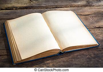 aperto, vuoto, pagine, di, vecchio, libro, su, legno, fondo