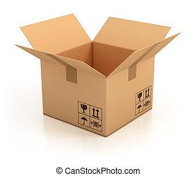 aperto, vuoto, scatola cartone