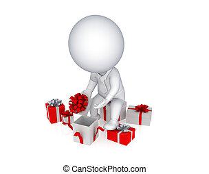 apertura, box., persona, regalo, 3d, piccolo
