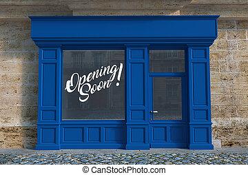 apertura, pequeño, pronto, tienda, aviso
