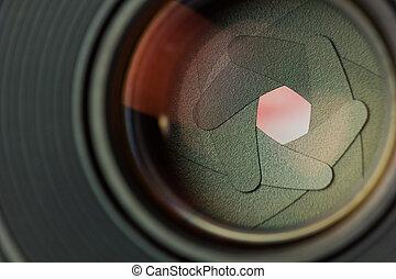 Aperture blades inside of a lens.