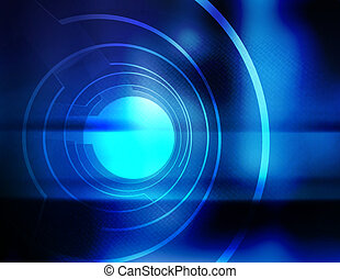 Aperture Blue - Three dimensional, abstract illustration of...