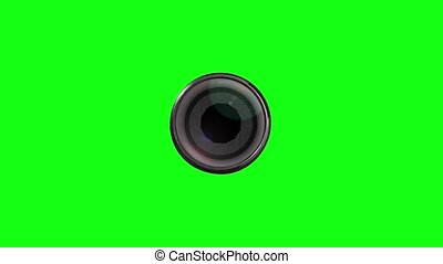 Aperture of the diaphragm on the photographic lens on green screen