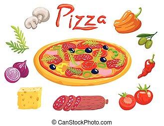 apetitoso, italiano, pizza, e, ingredientes, para, seu, preparação