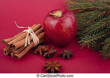 Apfel anis baum dekoration zimt hintergrund for Apfel dekoration