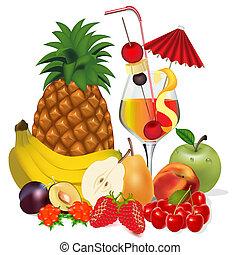 apfel, cocktail- kirsche, pflaume, früchte, pfirsich, banane