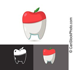 apfel, dental, zahnarzt, vektor, logo, symbol, ikone