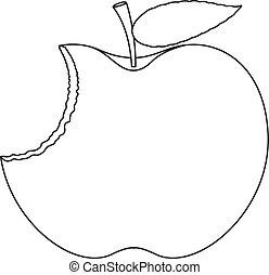 apfel, gegessen, zeichnung