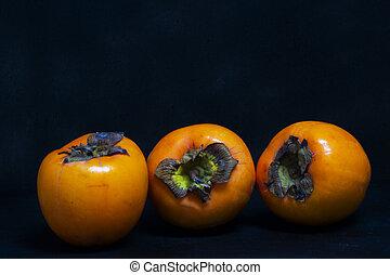 apfel, kaki, ericales, ebenaceae, oder, persimone, kaki, ...