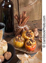 Apfel mit Nuss Karamell Füllung