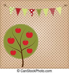 apfelbaum, mit, ammer, oder, banner