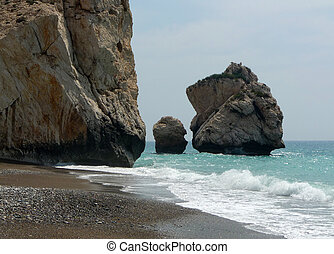aphrodite, 誕生, 地方, 在, 塞浦路斯