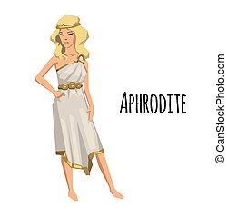 Aphrodite, ancient Greek goddess of Love and Beauty. Mythology. Flat vector illustration. Isolated on white background.