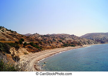 Aphrodite Bay. Beautiful beach located next to the Rock of the Greek, the birthplace of the goddess Aphrodite, Cyprus.