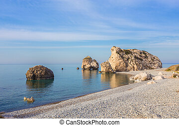 Aphrodite Beach on a sunny day. Cyprus.