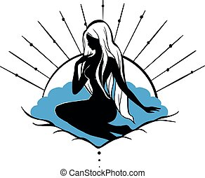aphrodite, göttin, silhouette, figur, sitzen, mithology, freigestellt, seashell., m�dchen