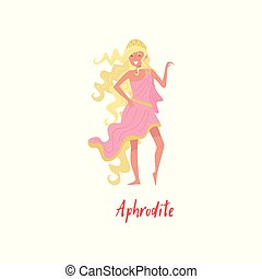 Aphrodite Olympian Greek Goddes, ancient Greece myths cartoon character vector Illustration on a white background