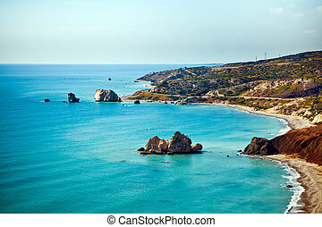 Aphrodite's birthplace beach in Paphos, Cyprus