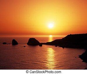Aphrodites birthplace, Cyprus. - Aphrodite's rock at sunset,...