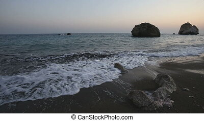 aphrodite's, pierre, soleil, plage, coucher soleil, clair
