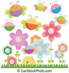 api, e, fiori