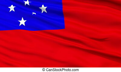 Apia City Close Up Waving Flag