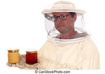 apiarist, com, mel, óculos, em, mãos