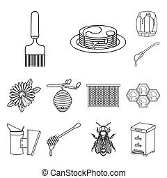 Apiary and beekeeping outline icons in set collection for...