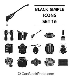 Apiary set icons in black style. Big collection of apiary vector symbol stock illustration