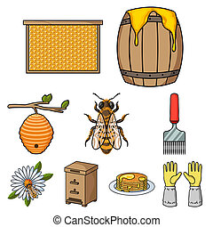 Apiary set icons in cartoon style. Big collection of apiary...