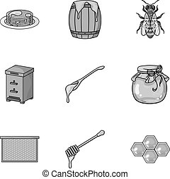 Apiary set icons in monochrome style. Big collection of...