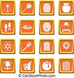 Apiary tools icons set orange