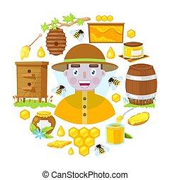 apicultor, apicultura, objetos