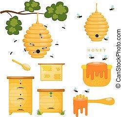 apicultor, Conjunto, aislar, amarillo, abeja, Plano de fondo, objetos, colmena, blanco