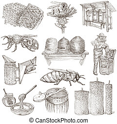 apicultura, -, abejas, mano, miel, ilustraciones, dibujado