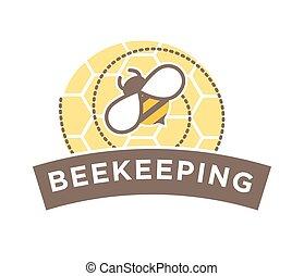 apicultura, abstratos, isolado, abelha, desenho, logotipo, favo mel